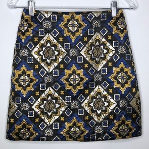 Loft Skirt Size 0 Petite Metallic Gold Blue Black